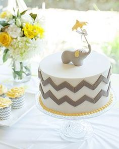 Grey and Yellow elephant theme baby shower cake
