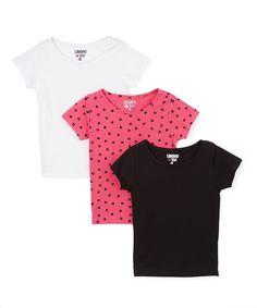 Look at this #zulilyfind! Pink Hearts & Black Tee Set - Toddler & Girls by Limited Too #zulilyfinds