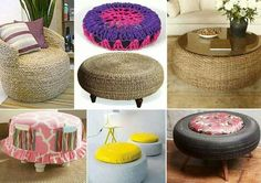 Turn those old tIres into gorgeous Ottoman. This DIY tip is fast and easy. Home Crafts, Diy Home Decor, Diy And Crafts, Tire Ottoman, Tire Craft, Tire Furniture, Diy Casa, Tyres Recycle, Old Tires