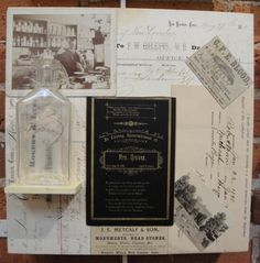 The Life of New London, Assemblage/Collage, Original Antique Items 1800's, Cradled Wood Panel,12x12, M. Kennedy - Artist