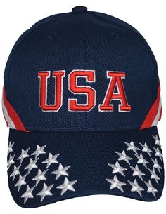 c5e9a74b91fbe Patriotic USA Cap - Cotton Twill w  3D Embroidered Letters And Fabric Strap
