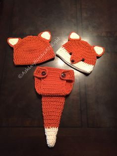 Crocheted Infant Fox hat and diaper set by AshleyHooksAtNight on Etsy https://www.etsy.com/listing/505950895/crocheted-infant-fox-hat-and-diaper-set