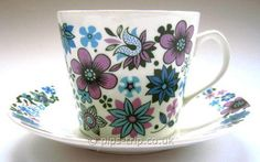 1960s 'Carnaby' Bone China Teacup & Saucer Duo by Elizabethan Pottery