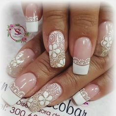 French Manicure Nail Designs, French Tip Nails, Manicure And Pedicure, Nail Art Designs, Ongles Gel French, Fingernails Painted, Line Nail Art, Romantic Nails, Lines On Nails