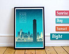 Kansas City Wall Art kansas city print, poster wall art kansas cityscape kansas city