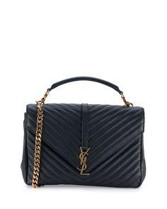 "Saint Laurent matelass lambskin satchel bag. Antiqued golden hardware. Removable top handle, 2.7"" drop. Chain and leather shoulder strap, 14.4"" drop. Flap top with YSL logo; snap closure. Back slip po"
