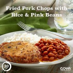 Fried Pork Chops with Rice and Pink Beans – Family Meal Pork Chops And Rice, Fried Pork Chops, Goya Recipes Puerto Rico, Goya Sazon Recipe, Pork Chop Dinner, Caribbean Recipes, Pork Recipes, Family Meals, Food To Make