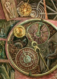 "Old Clocks   Old Clocks"" Painting art prints and posters by Olga Sabo - ARTFLAKES ..."
