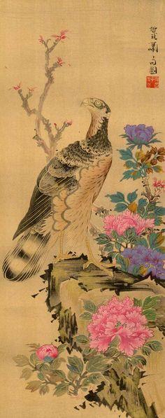 A Hawk and Peonies .......... Soga Shohaku (Woodcut-print)