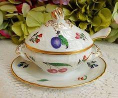 Richard Ginori Porcelain Covered Mustard Jar Tureen with Spoon ~ Perugia ~ Fruit #RichardGinori