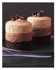 Triple chocolate mousse cake dessert