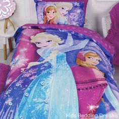 Elsa the Snow Queen and Princess Anna or Arendelle shine and sparkle in the Frozen Sparkle Quilt Cover Set from Kids Bedding Dreams. Perfect for girls bedroom and Frozen bedroom theme. Frozen Bedding, Frozen Bedroom, Bedroom Themes, Girls Bedroom, Popular Disney Movies, Double Bed Size, Quilt Cover Sets, Bedroom Accessories, Great Night
