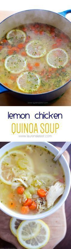 Healthy Recipes : Lemon Chicken Quinoa Soup from Lauren's Latest. This healthy recipe is savory an. Healthy Recipes, Soup Recipes, Chicken Recipes, Cooking Recipes, Diet Recipes, Recipes Dinner, Healthy Snacks, Recipies, Healthy Soups