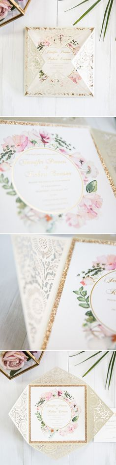 ivory and blush pink gold glitter watercolor wedding invitations
