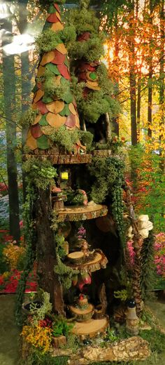 Fairy House Woodland Fairy Townhouse Fairy by WoodlandFairyVillage, $99.99, moveable furniture, miniature pixie elf and more!