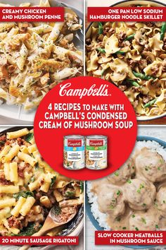 Discover 4 delicious recipes you can make with Campbell's® Condensed Cream of Mushroom Soups Mushroom Soup Recipes, Chicken Soup Recipes, Meat Recipes, Pasta Recipes, Crockpot Recipes, Cooking Recipes, Dinner Recipes, Healthy Recipes, Delicious Recipes