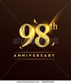 98th anniversary glowing logotype with confetti golden colored isolated on dark background, vector design for greeting card and invitation card.