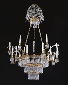 A German cut glass-mounted ormolu and gilt-metal eighteen-light after a design by Karl Friedrich Schinkel (1781-1841) -   19th century
