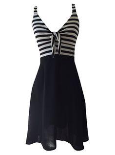 "Women's ""Betty Tie"" Dress by Switchblade Stiletto (Black/White) #InkedShop #dress #womenswear #womensclothing #stripes #style #fashion"