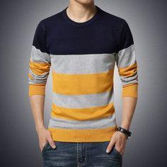2015 NEW winter long sleeve striped men pullover sweater masculino male casual sweater knitwear plus size 3XL 4XL 5XL