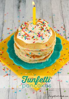 Celebrate a birthday or special day with this super-yummy Funfetti Pancake recipe!  Light, fluffy, and loaded with sprinkles, this breakfast treat will make your morning extra special- apple not included! This idea would also be great for a slumber party or desserts served late-night after a wedding.