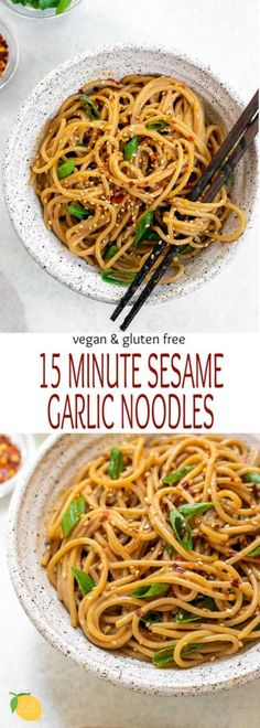 In a hurry and need an easy dinner recipe? These garlic sesame noodles are loaded with flavor and both vegan and gluten free! In a hurry and need an easy dinner recipe? These garlic sesame noodles are loaded with flavor and both vegan and gluten free! Asian Recipes, Beef Recipes, Chicken Recipes, Cooking Recipes, Healthy Recipes, Gluten Free Recipes For Dinner, Easy Dinner Recipes, Easy Meals, Vegetarian Recipes