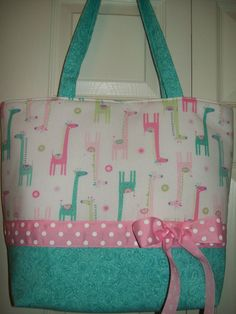 SALE..Pink..Turquoise..GIRAFFES..ANIMALS..Polka Dot by Purselady