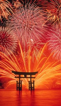 宮島 花火*Fireworks at Miyajima, Japan Beautiful World, Beautiful Places, Non Plus Ultra, Fire Works, Hanabi, Into The Fire, Thinking Day, Japanese Culture, Scenery