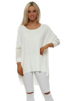 A POSTCARD FROM BRIGHTON Shirty Vanilla Contrast Tail Back Tunic Top