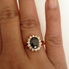 Ring Black Crystal CZ ring with 24k gold plated ring jewelry.(NEW) No Trades. No Holds. No PayPal. Jewelry Rings