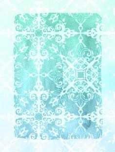 Mermaid's Lace - White Patterned Aqua / Mint Watercolor Wash Art Print