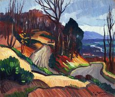Gaston Baland, France 1880-1971  La vallée de la Risle 1949   oil on canvas