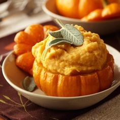 How to make miniature pumpkin bowls (with pumpkin mashed potato recipe). Pumpkin bowls are great for soups and casseroles too! (recipe.com)