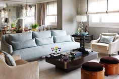 Isabel Quesada Living room ottomans and palette