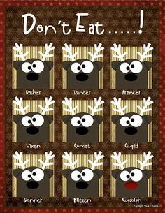 Don't Eat.....! Christmas Reindeer Game with free printables and instructions.  Looks really cute!