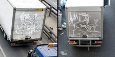 Artist Uses Dirty Trucks As His Canvases, 'Paints' Amazing Artworks On Them - DesignTAXI.com