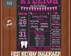 Pink Gold First Birthday Chalkboard  Chalkboard Poster  Pink
