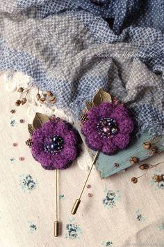Купить Броши-цветы «Сливовые» в интернет магазине на Ярмарке Мастеров