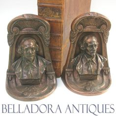 Figural Shakespeare Bookends Patented by BRONZMET July 12, 1924
