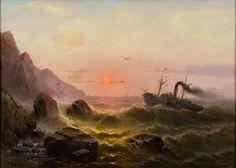 Albert Rieger (1834-1905), Raddampfer vor der Küste.