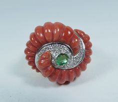 HUGE ITALIAN 14K GOLD CARVED CORAL EMERALD DIAMOND RING in Jewelry & Watches, Vintage & Antique Jewelry, Fine | eBay