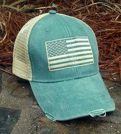American Flag Distressed Baseball Cap Patriotic by TheLostSheep