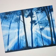 Beautiful light by @karita_art -  Forest sunrays practise  . Tag #inspiring_watercolors if you think all watercolor lovers should see your paintings. #watercolors #watercolor #watercolorpainting #aquarelle #akvarell #painting #watercolorartist #art #artist #inspiration #beauty #beautiful #sketch #illustration #artwork #watercolour #watercolorsketch #fineart #creative #artistic #light #sunrise #forest #trees #nature #blue by inspiring_watercolors