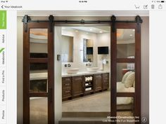Awesome barn doors.  Would be great going from the bedroom to the bathroom