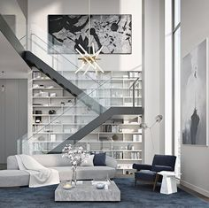 Contemporary mostly white living area with minimal style stairs and huge book shelf
