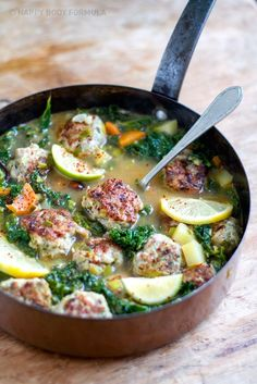 Turkey Meatballs & Kale In Lemony Garlic Broth // This delicious meatball stew recipe is from the Happy Body Formula program. Great for winery days or as a light stew in the summer - paleo and gluten free. // Dom's Kitchen // @Dom's Kitchen - Claire Deeks