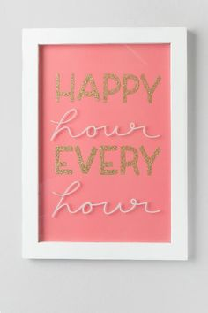 Happy Hour Every Hour Glitter Glass Wall Decor