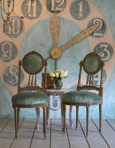 this HUGE painted clock is SO cool! If I ever get around to doing it, what time would I put it on? lol