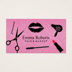 #makeupartist #businesscards - #Makeup Artist Hair Stylist Salon Hot Pink Glitter Business Card