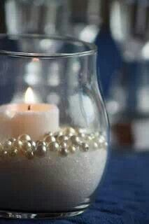 Candles-I like the sand and the pearls together